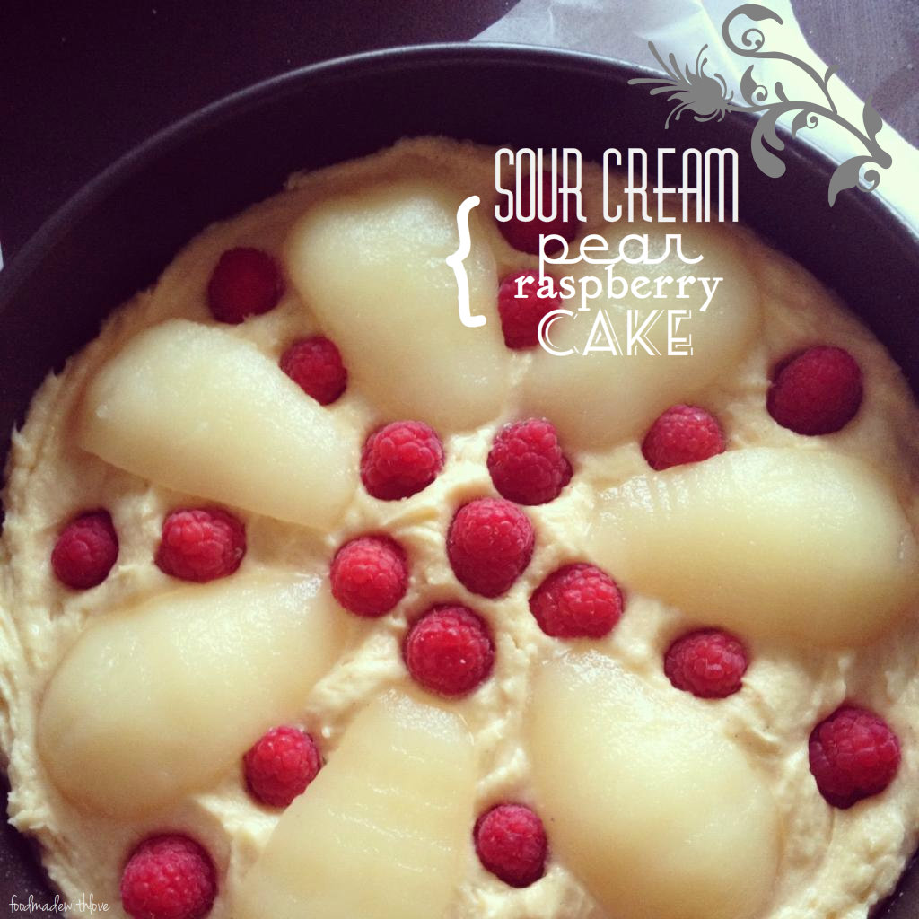 Sour cream, pear & raspberry cake