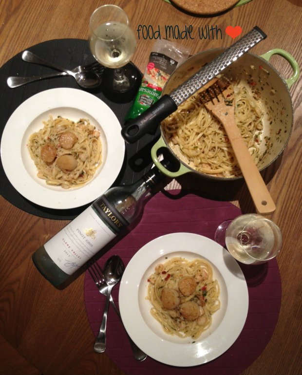 Prawn aglio olio with Taylors Estate Pinot Gris