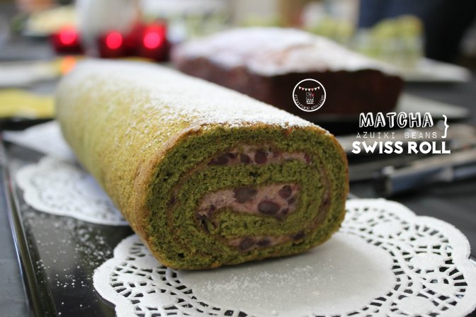 Matcha Swiss Roll with Azuki Cream