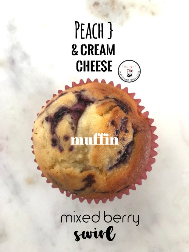 peach cream cheese mixed berry swirl muffins 1